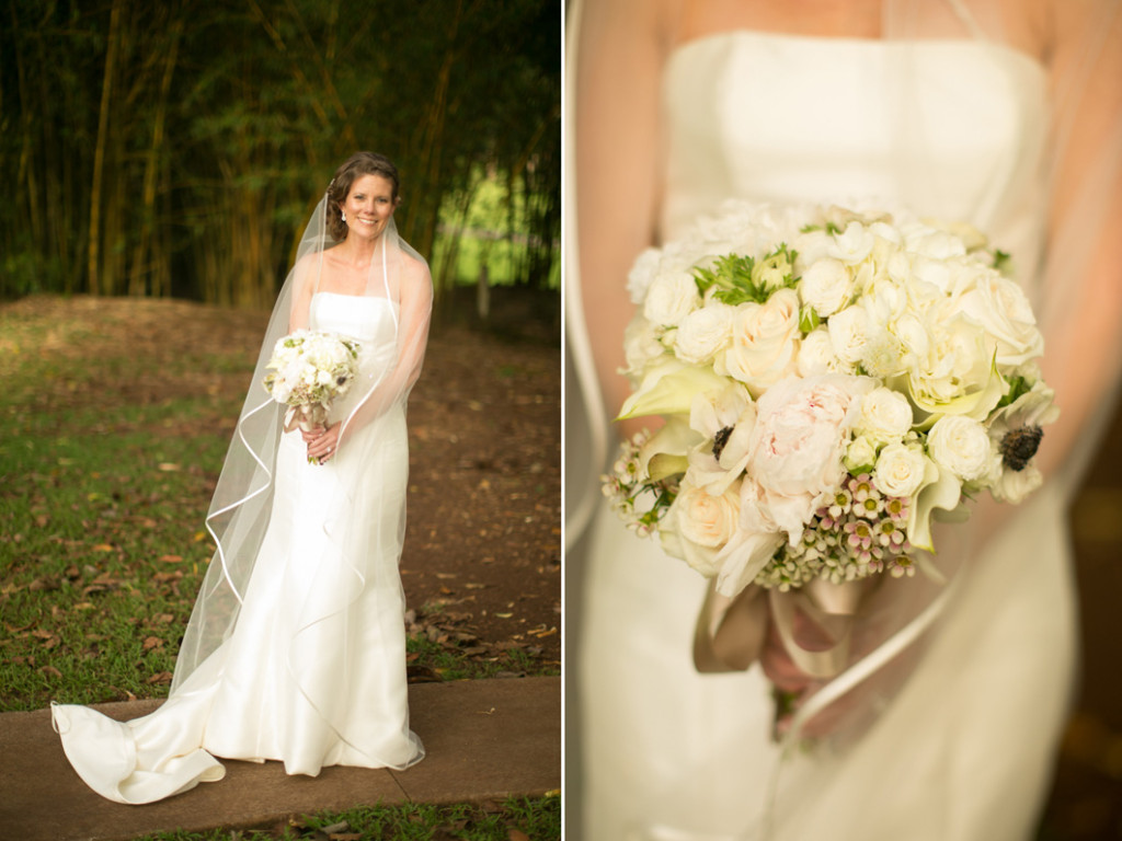 Beautiful bride and bouquet on Lanai