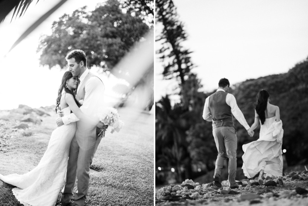 black and white maui wedding photos