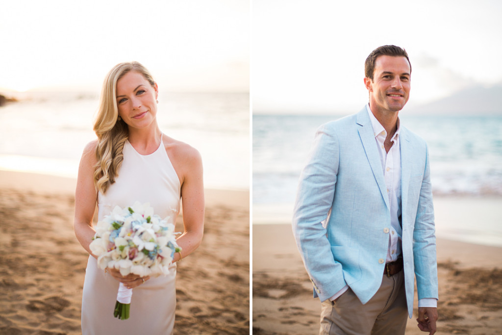 bride, groom, maui beach