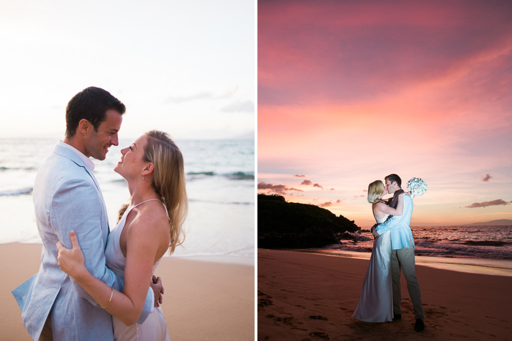 pink sunset maui wedding