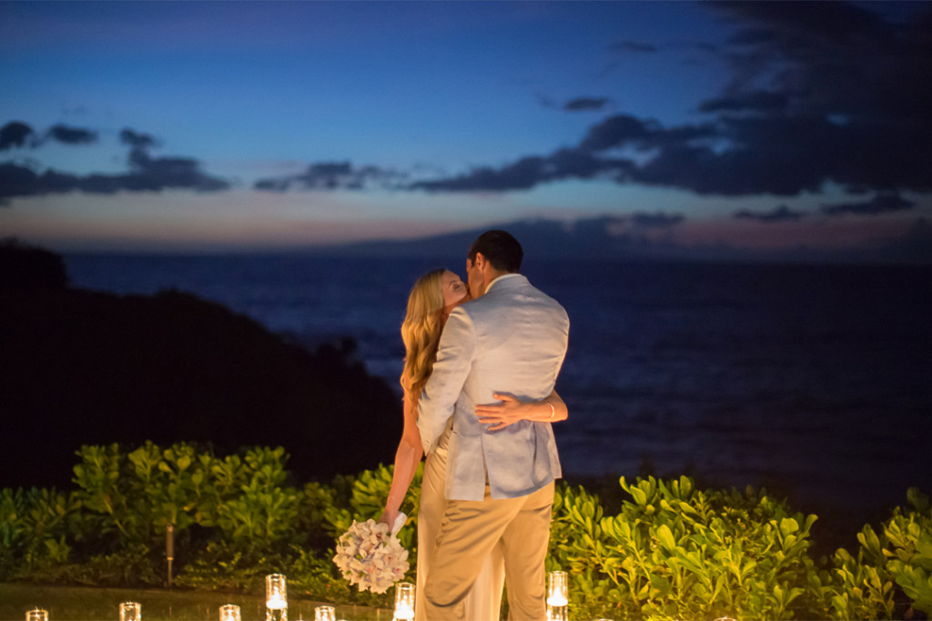 evening kiss, wailea wedding
