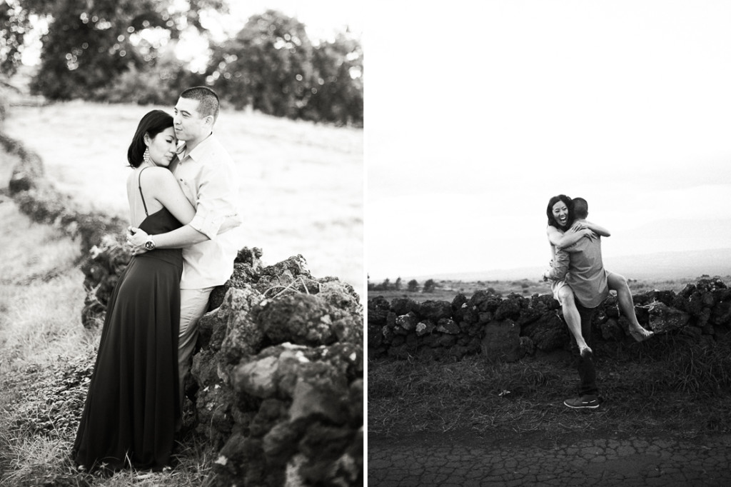 maui black and white engagement photos
