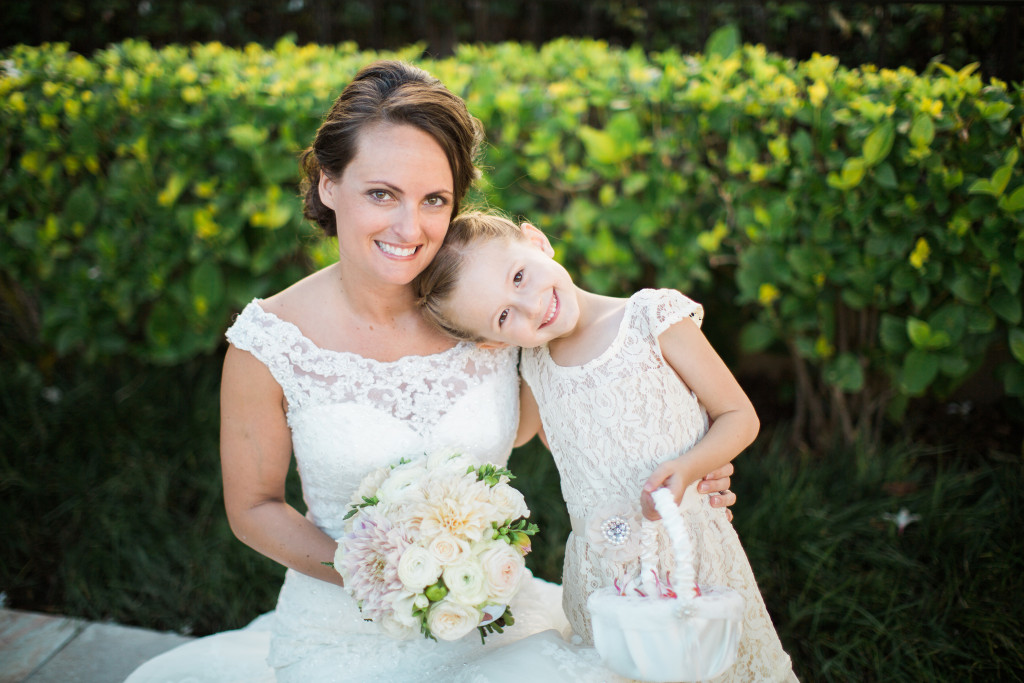 bride and flower girl, four Seasons maui