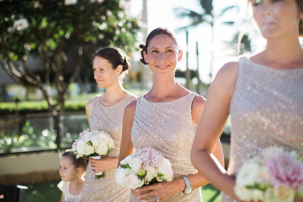 pink and gold bridesmaids colors maui
