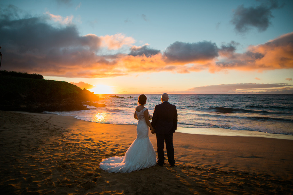 maui wedding sunset photo