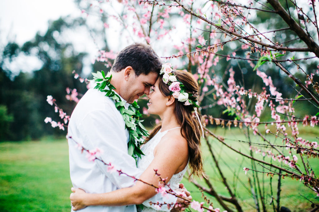 Cherry blossoms Kula Maui wedding portrait
