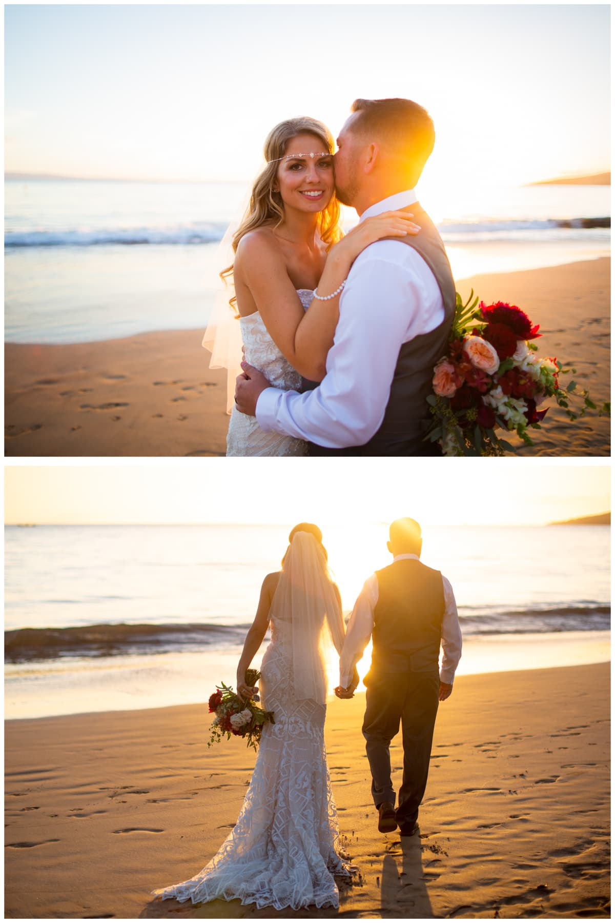 Sunset photos Sugar Beach Maui Wedding #Sugarbeachwedding #mauiwedding #hawaiiweddings